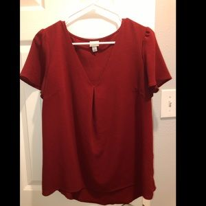 Red short sleeved blouse size L